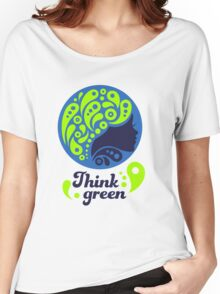 Think Green, Ecology Concept icon, woman half face silhouette Women's Relaxed Fit T-Shirt