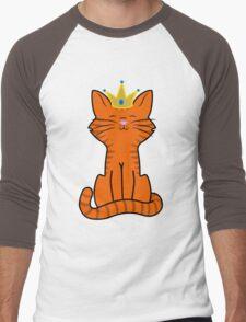Orange Cat Princess with Gold Crown Men's Baseball ¾ T-Shirt