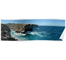 Maltese Cliffs and Rough Sea Panorama Poster