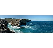 Maltese Cliffs and Rough Sea Panorama Photographic Print