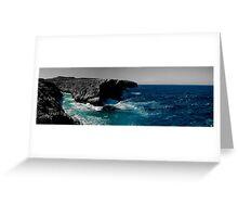 Maltese Cliffs and Rough Sea Panorama - edit Greeting Card