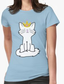 White Cat Princess with Gold Crown Womens Fitted T-Shirt