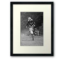 Dirt bike landing nose down Framed Print
