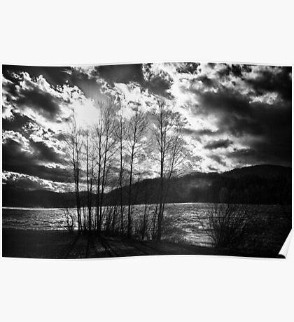 Black and white dramatic contrast landscape fine art wall art - Freddo Poster