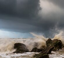 Waves crashing at Hope Gap, East Sussex by willgudgeon