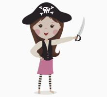 Pink pirate cartoon girl stickers by MheaDesign
