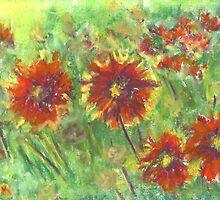Hippie Flowers (pastel) by Niki Hilsabeck