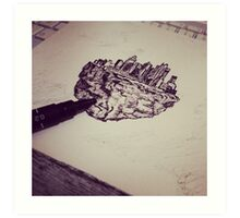 Drawing floating city Art Print