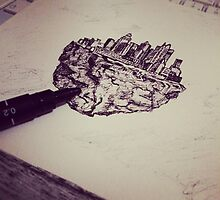 Drawing floating city by Jane Sauce