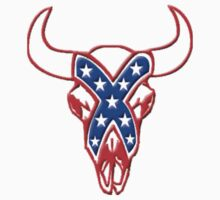 REBEL STEER SKULL red white and blue by thatstickerguy
