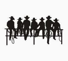 Cowboys on wood fence by Tony  Bazidlo