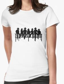 Cowboys on wood fence Womens Fitted T-Shirt