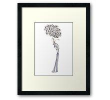 Fashion Illustration 'Blue Willow Dress' Fashion Art Framed Print
