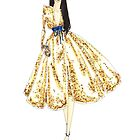 Fashion Illustration 'Gold Sequin Dress' Fashion Art by Alex Newton