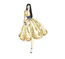 Fashion Illustration 'Gold Sequin Dress' Fashion Art Photographic Print
