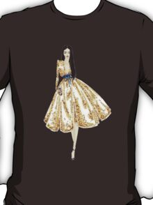Fashion Illustration 'Gold Sequin Dress' Fashion Art T-Shirt