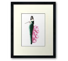Fashion Illustration 'Green Sequinned Dress' Fashion Art Framed Print
