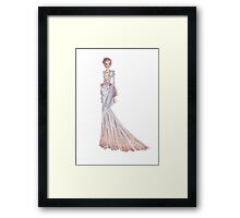 Fashion Illustration 'Grey and Rose Structured Dress' Fashion Art Framed Print