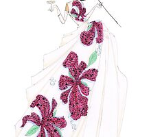 Fashion Illustration 'Tropical Silks' Fashion Art by Alex Newton