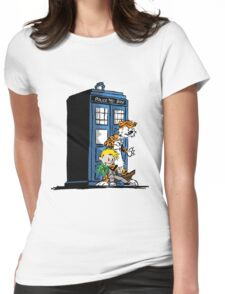 calvin and hobbes police box in action Womens Fitted T-Shirt
