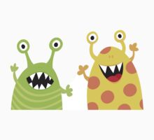 Cute, funny monsters sticker by MheaDesign