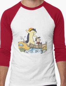 calvin and hobbes meets pokemon Men's Baseball ¾ T-Shirt