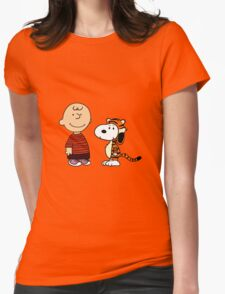calvin and hobbes meets peanuts Womens Fitted T-Shirt