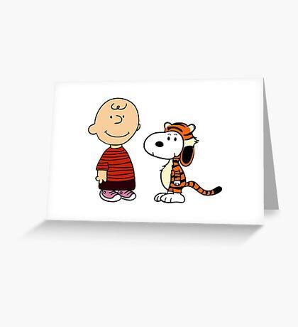calvin and hobbes meets peanuts Greeting Card