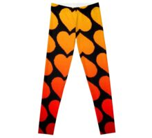Love Hearts On A Black Background Leggings