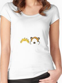 calvin and hobbes head Women's Fitted Scoop T-Shirt