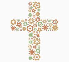 Orange floral flower cross sticker by Mhea