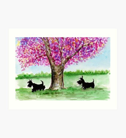 Two Scottie Dogs Art Print