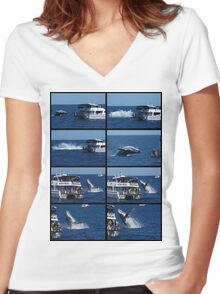 Humpback Whale Breaching next to boat Women's Fitted V-Neck T-Shirt