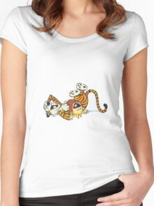 calvin and hobbes rotfl Women's Fitted Scoop T-Shirt