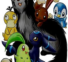 Several pokemon with each other. by rosawithlie