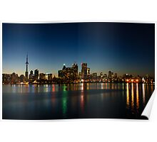 Blue Hour - Toronto's Dazzling Skyline Reflecting in Lake Ontario Poster