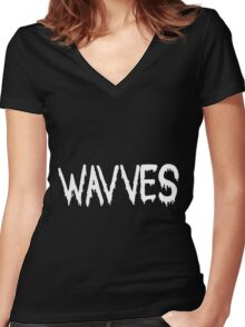 Wavves black Women's Fitted V-Neck T-Shirt
