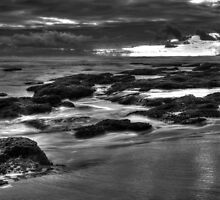Rocks at Sunset 2 BW by DavidsArt