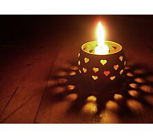 Yellow Glowing Heart Candle Photographic Print