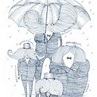 Moustache Men Wait in the Rain by platypusradio