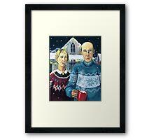 American winter - Grant Wood parody Framed Print