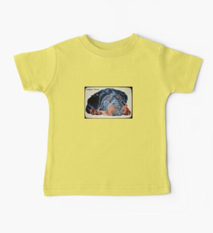 Rottweiler Puppy Portrait With Pedigree Charm Greeting Baby Tee