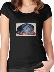 Rottweiler Puppy Portrait With Pedigree Charm Greeting Women's Fitted Scoop T-Shirt