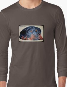 Rottweiler Puppy Portrait With Pedigree Charm Greeting Long Sleeve T-Shirt