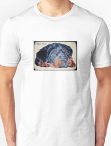 Rottweiler Puppy Portrait With Pedigree Charm Greeting Unisex T-Shirt