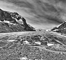 Athabasca Glacier in Black and White by JamesA1