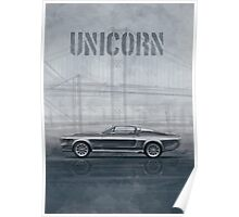 Ford Mustang Eleanor Unicorn Movie Inspired Muscle Car Poster