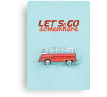 Volkswagen Bus Samba Vintage Car - Hippie Travel - Let's go somewhere Canvas Print