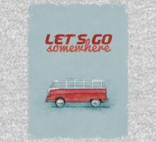 Volkswagen Bus Samba Vintage Car - Hippie Travel - Let's go somewhere One Piece - Long Sleeve