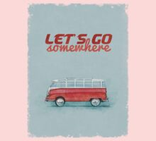 Volkswagen Bus Samba Vintage Car - Hippie Travel - Let's go somewhere One Piece - Long Sleeve